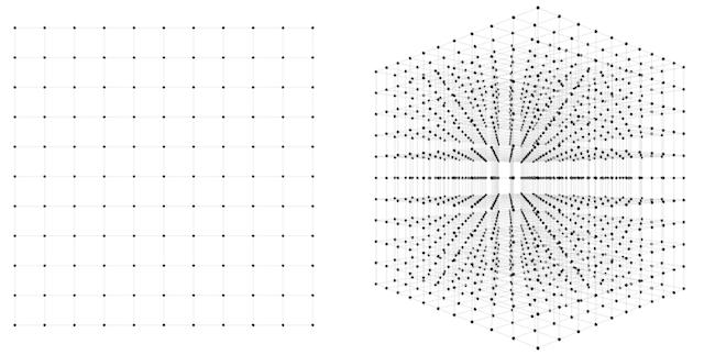 Пространства 10х10(слева) и 10х10х10(справа) точек